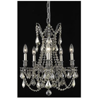 Elegant Lighting Rosalia 5 Light Dining Chandelier in Pewter with Royal Cut Golden Teak Crystal 9205D18PW-GT/RC