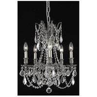 Elegant Lighting Rosalia 5 Light Dining Chandelier in Pewter with Elegant Cut Clear Crystal 9205D18PW/EC