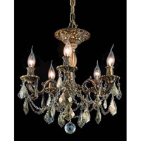 Elegant Lighting Rosalia 5 Light Flush Mount in Antique Bronze with Swarovski Strass Golden Teak Crystal 9205F18AB-GT/SS alternative photo thumbnail