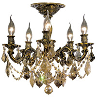 Elegant Lighting Rosalia 5 Light Flush Mount in Antique Bronze with Royal Cut Golden Teak Crystal 9205F18AB-GT/RC