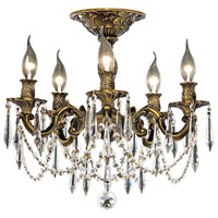 Elegant Lighting Rosalia 5 Light Flush Mount in Antique Bronze with Swarovski Strass Clear Crystal 9205F18AB/SS