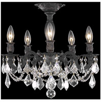 Elegant Lighting Rosalia 5 Light Flush Mount in Dark Bronze with Spectra Swarovski Clear Crystal 9205F18DB/SA