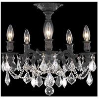 Elegant Lighting 9205F18DB/EC Rosalia 5 Light 18 inch Dark Bronze Flush Mount Ceiling Light in Clear Elegant Cut