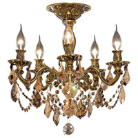 Elegant Lighting Rosalia 5 Light Flush Mount in French Gold with Royal Cut Golden Teak Crystal 9205F18FG-GT/RC