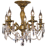 Elegant Lighting Rosalia 5 Light Flush Mount in French Gold with Swarovski Strass Clear Crystal 9205F18FG/SS