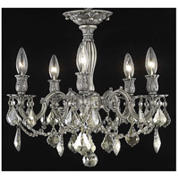 Elegant Lighting Rosalia 5 Light Flush Mount in Pewter with Royal Cut Golden Teak Crystal 9205F18PW-GT/RC