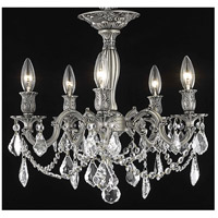 Elegant Lighting Rosalia 5 Light Flush Mount in Pewter with Spectra Swarovski Clear Crystal 9205F18PW/SA