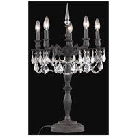 Elegant Lighting 9205TL18DB/SS Rosalia 28 inch 60 watt Dark Bronze Table Lamp Portable Light in Clear Swarovski Strass