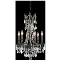 Elegant Lighting Rosalia 6 Light Pendant in Dark Bronze with Elegant Cut Clear Crystal 9206D16DB/EC