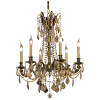 Elegant Lighting Rosalia 6 Light Dining Chandelier in Antique Bronze with Royal Cut Golden Teak Crystal 9206D23AB-GT/RC