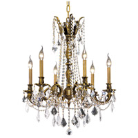 Elegant Lighting Rosalia 6 Light Dining Chandelier in Antique Bronze with Elegant Cut Clear Crystal 9206D23AB/EC