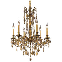 Elegant Lighting Rosalia 6 Light Dining Chandelier in French Gold with Swarovski Strass Golden Teak Crystal 9206D23FG-GT/SS