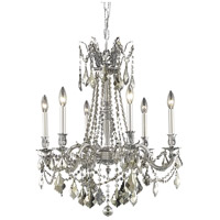 Elegant Lighting Rosalia 6 Light Dining Chandelier in Pewter with Swarovski Strass Golden Teak Crystal 9206D23PW-GT/SS
