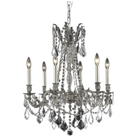 Elegant Lighting Rosalia 6 Light Dining Chandelier in Pewter with Elegant Cut Clear Crystal 9206D23PW/EC