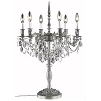 Elegant Lighting Rosalia 6 Light Table Lamp in Pewter with Swarovski Strass Clear Crystal 9206TL20PW/SS