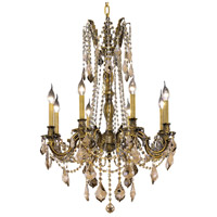 Elegant Lighting Rosalia 8 Light Dining Chandelier in Antique Bronze with Swarovski Strass Golden Teak Crystal 9208D24AB-GT/SS