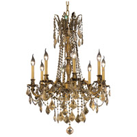 Elegant Lighting Rosalia 8 Light Dining Chandelier in French Gold with Royal Cut Golden Teak Crystal 9208D24FG-GT/RC