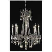 Elegant Lighting Rosalia 8 Light Dining Chandelier in Pewter with Royal Cut Golden Teak Crystal 9208D24PW-GT/RC