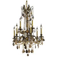 Elegant Lighting Rosalia 9 Light Dining Chandelier in Antique Bronze with Royal Cut Golden Teak Crystal 9209D23AB-GT/RC photo thumbnail