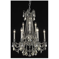 Elegant Lighting Rosalia 9 Light Dining Chandelier in Pewter with Swarovski Strass Golden Teak Crystal 9209D23PW-GT/SS