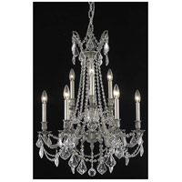 Elegant Lighting Rosalia 9 Light Dining Chandelier in Pewter with Elegant Cut Clear Crystal 9209D23PW/EC