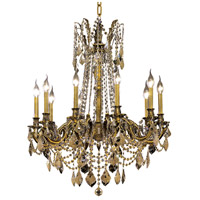Elegant Lighting Rosalia 10 Light Dining Chandelier in Antique Bronze with Royal Cut Golden Teak Crystal 9210D28AB-GT/RC