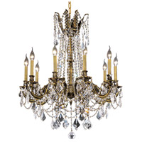 Elegant Lighting Rosalia 10 Light Dining Chandelier in Antique Bronze with Royal Cut Clear Crystal 9210D28AB/RC