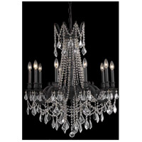 Elegant Lighting Rosalia 10 Light Dining Chandelier in Dark Bronze with Elegant Cut Clear Crystal 9210D28DB/EC
