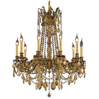 Elegant Lighting Rosalia 10 Light Dining Chandelier in French Gold with Swarovski Strass Golden Teak Crystal 9210D28FG-GT/SS photo thumbnail