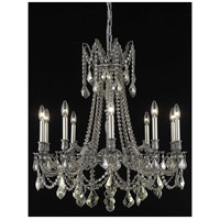 Elegant Lighting Rosalia 10 Light Dining Chandelier in Pewter with Swarovski Strass Golden Teak Crystal 9210D28PW-GT/SS