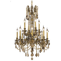 Elegant Lighting Rosalia 12 Light Dining Chandelier in Antique Bronze with Royal Cut Golden Teak Crystal 9212D24AB-GT/RC