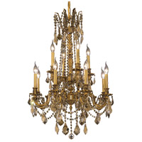 Elegant Lighting Rosalia 12 Light Dining Chandelier in French Gold with Swarovski Strass Golden Teak Crystal 9212D24FG-GT/SS