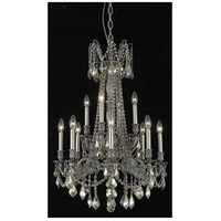 Elegant Lighting Rosalia 12 Light Dining Chandelier in Pewter with Swarovski Strass Golden Teak Crystal 9212D24PW-GT/SS