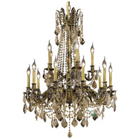 Elegant Lighting Rosalia 15 Light Dining Chandelier in Antique Bronze with Royal Cut Golden Teak Crystal 9215D28AB-GT/RC