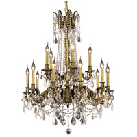 Elegant Lighting Rosalia 15 Light Dining Chandelier in Antique Bronze with Royal Cut Clear Crystal 9215D28AB/RC