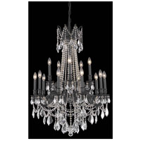 Elegant Lighting Rosalia 15 Light Dining Chandelier in Dark Bronze with Elegant Cut Clear Crystal 9215D28DB/EC