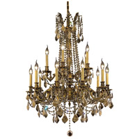 Elegant Lighting Rosalia 15 Light Dining Chandelier in French Gold with Swarovski Strass Golden Teak Crystal 9215D28FG-GT/SS
