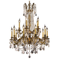 Elegant Lighting Rosalia 15 Light Dining Chandelier in French Gold with Elegant Cut Clear Crystal 9215D28FG/EC