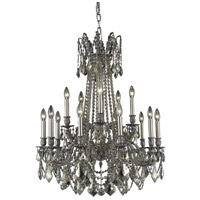 Elegant Lighting Rosalia 15 Light Dining Chandelier in Pewter with Swarovski Strass Golden Teak Crystal 9215D28PW-GT/SS
