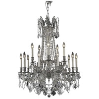 Elegant Lighting Rosalia 15 Light Dining Chandelier in Pewter with Elegant Cut Clear Crystal 9215D28PW/EC