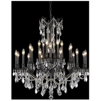 Elegant Lighting Rosalia 24 Light Dining Chandelier in Dark Bronze with Elegant Cut Clear Crystal 9224D36DB/EC