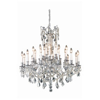Elegant Lighting 9224D36PW/RC Rosalia 24 Light 36 inch Pewter Dining Chandelier Ceiling Light in Royal Cut