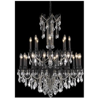 Elegant Lighting Rosalia 24 Light Foyer in Dark Bronze with Elegant Cut Clear Crystal 9224G36DB/EC