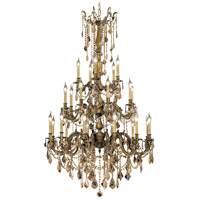Elegant Lighting Rosalia 25 Light Foyer in Antique Bronze with Royal Cut Golden Teak Crystal 9225G38AB-GT/RC
