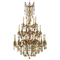 Elegant Lighting Rosalia 25 Light Foyer in French Gold with Royal Cut Golden Teak Crystal 9225G38FG-GT/RC