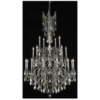 Elegant Lighting Rosalia 25 Light Foyer in Pewter with Swarovski Strass Golden Teak Crystal 9225G38PW-GT/SS