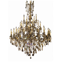 Elegant Lighting Rosalia 45 Light Foyer in Antique Bronze with Royal Cut Golden Teak Crystal 9245G54AB-GT/RC