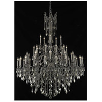 Elegant Lighting Rosalia 45 Light Foyer in Pewter with Swarovski Strass Golden Teak Crystal 9245G54PW-GT/SS