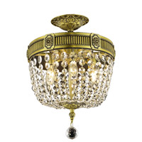 Elegant Lighting Esperanza 3 Light Flush Mount in Antique Bronze with Royal Cut Clear Crystal 9303F12AB/RC