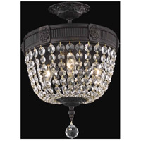 Elegant Lighting Esperanza 3 Light Flush Mount in Dark Bronze with Elegant Cut Clear Crystal 9303F12DB/EC